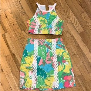 Lilly Pulitzer crop skirt set size 0 big flirt